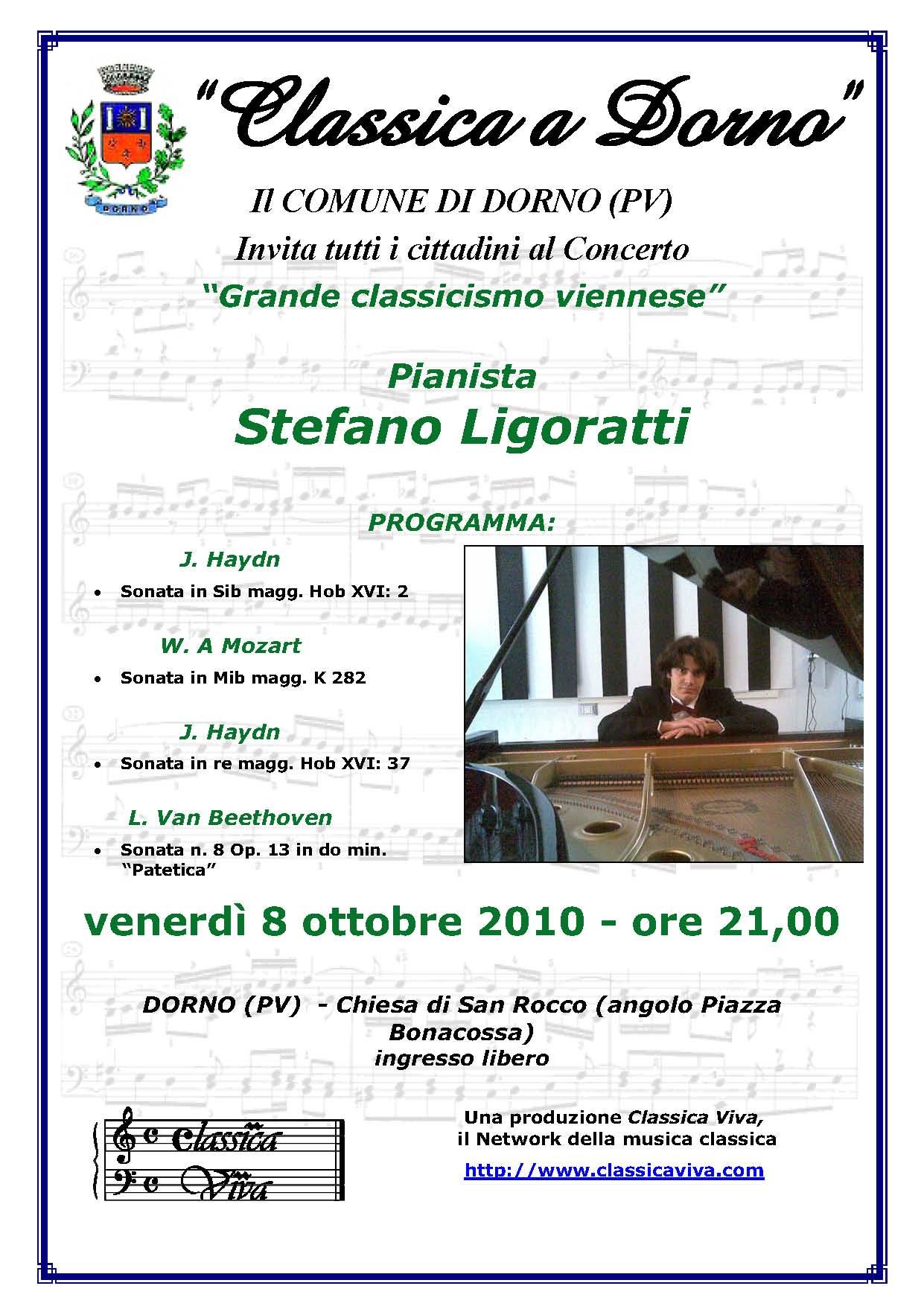 """Concerto di Stefano Ligoratti a Dorno - """"Grande classicismo viennese"""""""