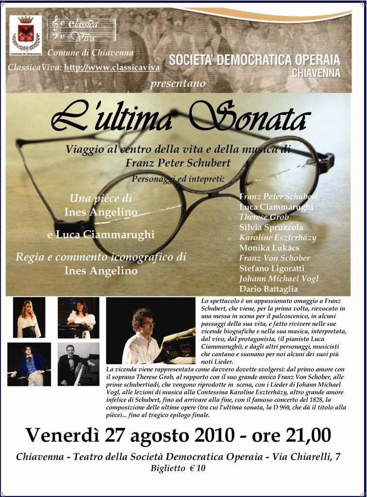 """La locandina de """"L'Ultima Sonata"""", in scena a Chiavenna, 27 agosto 2010"""