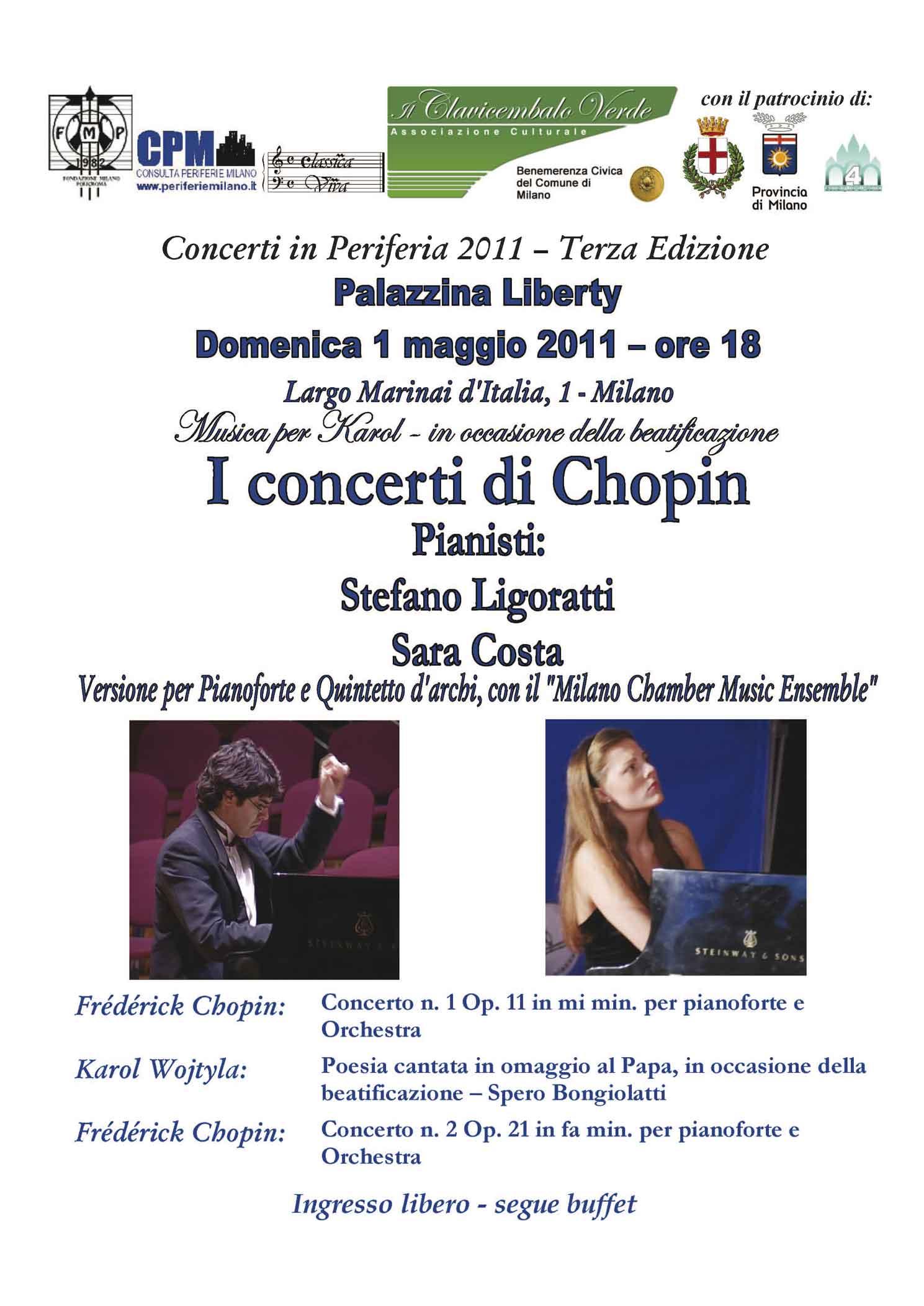 I concerti di Chopin alla Palazzina Liberty di Milano, con  i pianisti Stefano Ligoratti e Sara Costa